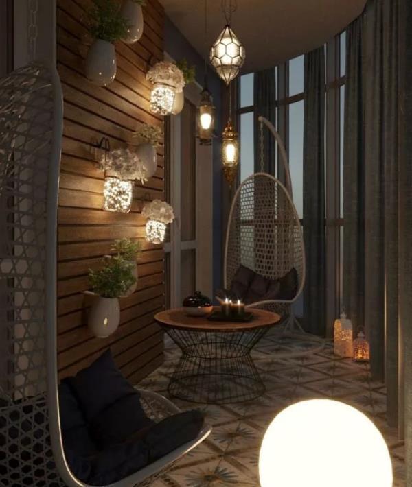 Идеи для балкона. Дизайн отделки и ремонта. Идеи штор, шкафов