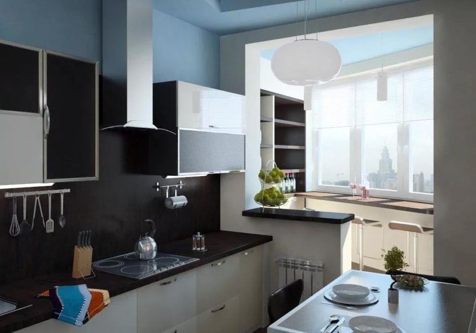 Интерьер балкона, дизайн балкона вместе с кухней, спальней и комнатой
