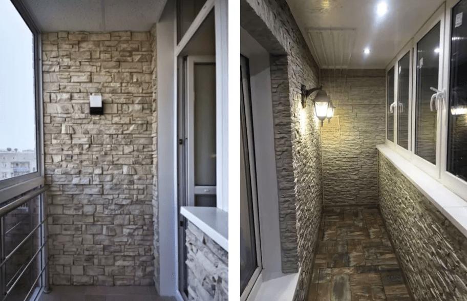 Каменные декоративные панели на балконе