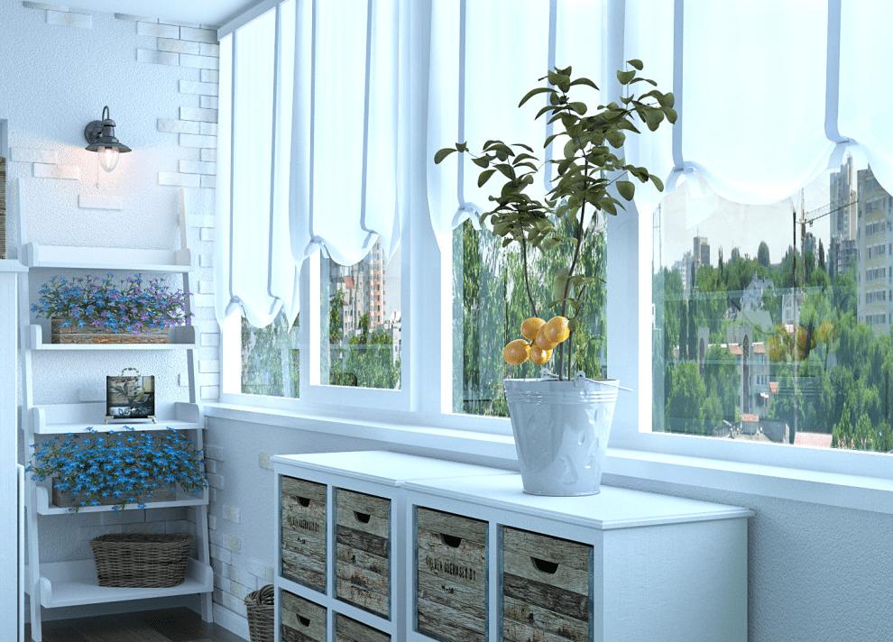 Красивый балкон после отделки стен с мебелью