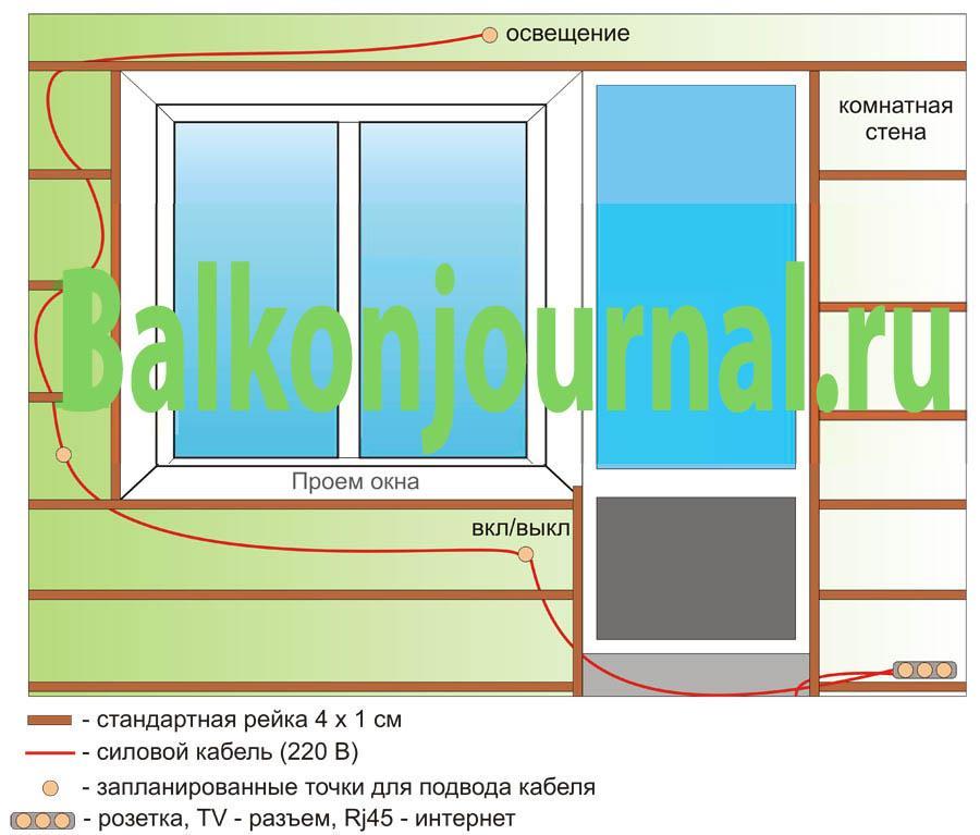 Схема проводки на балконе